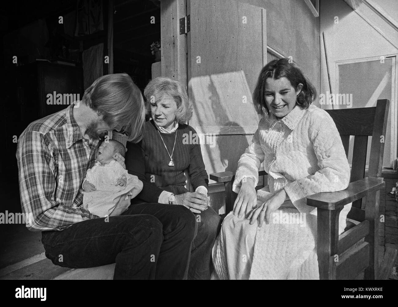 Ethel Kennedy, wife of slain Robert Kennedy (center) sits with her daughter Kathleen Kennedy and Kathleen's - Stock Image