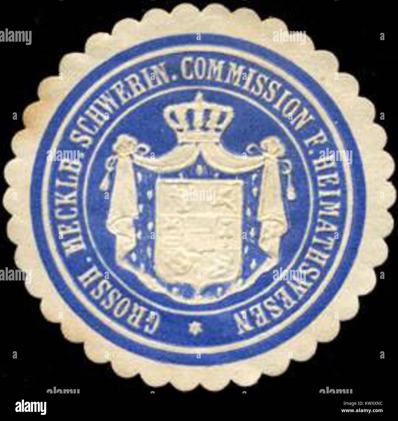 Siegelmarke Grossherzoglich Mecklenburgisch Schweriner Commission für Heimathwesen W0211699 - Stock Image