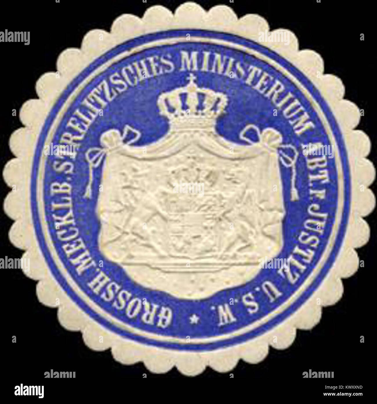 Siegelmarke Grossherzoglich Mecklenburgisch Strelitzsches Ministerium Abteilung für Justiz u. s. w. W0216165 - Stock Image