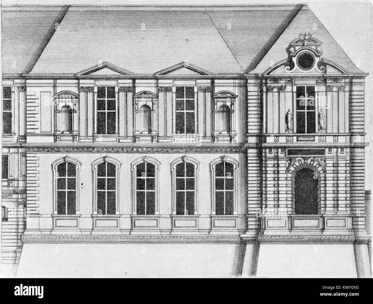 L'Architecture française (Marot) – Façade sur le quai de l'extrémité de la Galerie d'Apollon - Stock Image