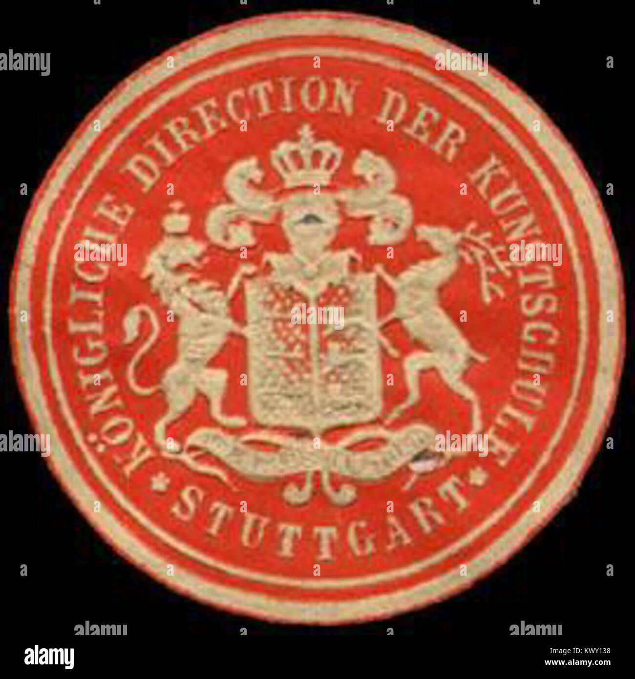 Siegelmarke Königliche Direction der Kunstschule - Stuttgart W0232882 - Stock Image