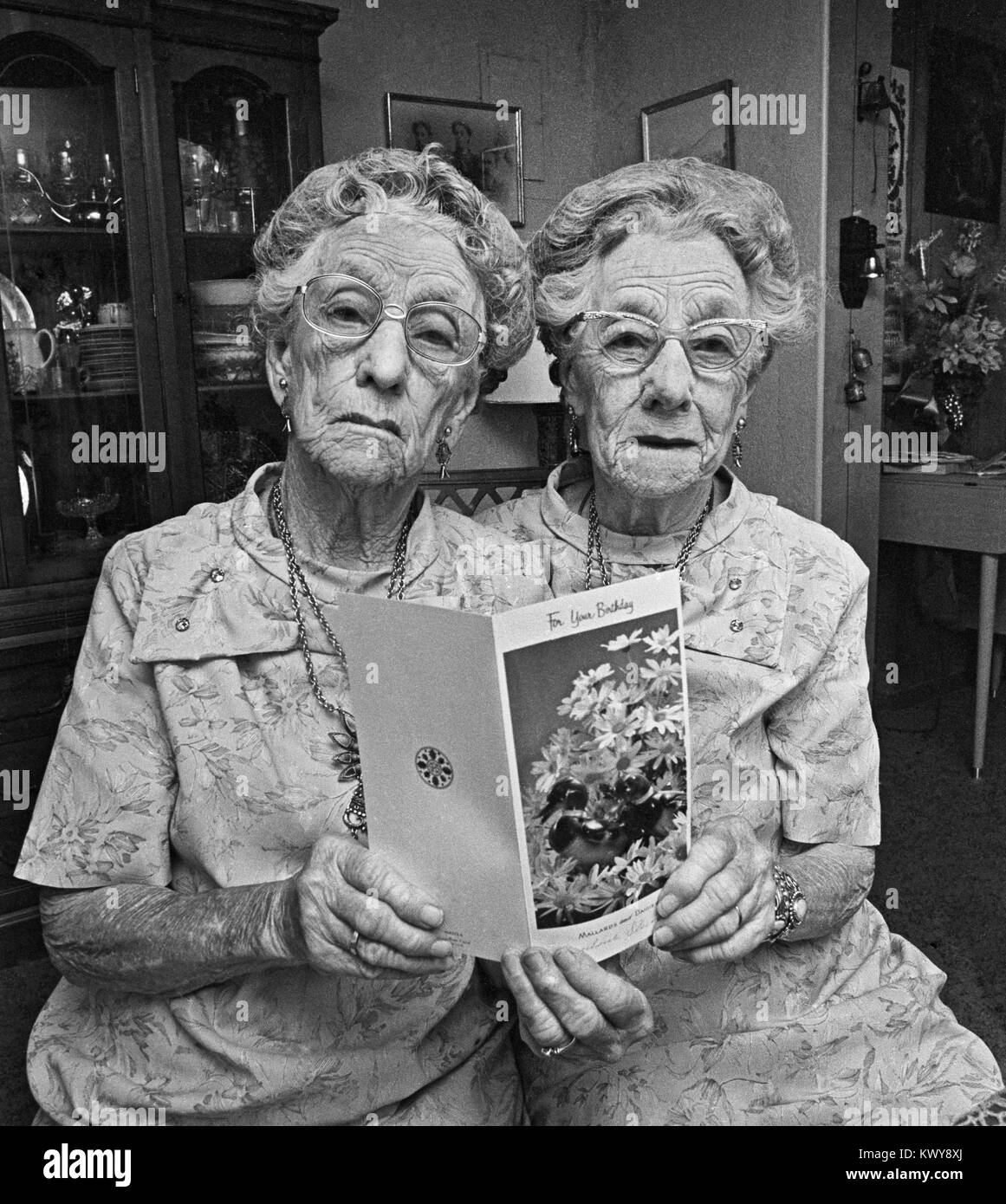 The Roberts Twins, celebrating their 100th birthday in Truth or Consequences, New Mexico - Stock Image