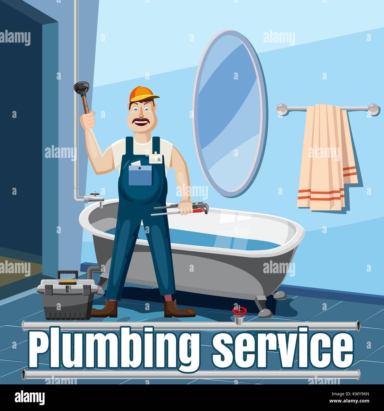 Plumber repair service concept, cartoon style - Stock Image