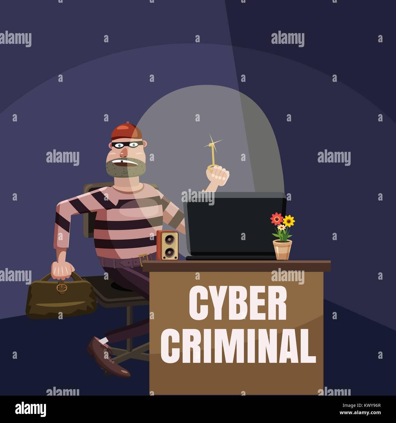 Computer criminal spy concept, cartoon style Stock Vector