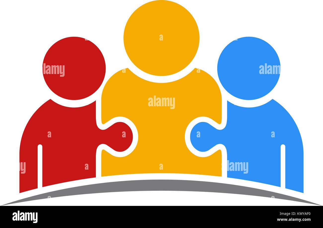 Three People Puzzle Teamwork Logo - Stock Vector