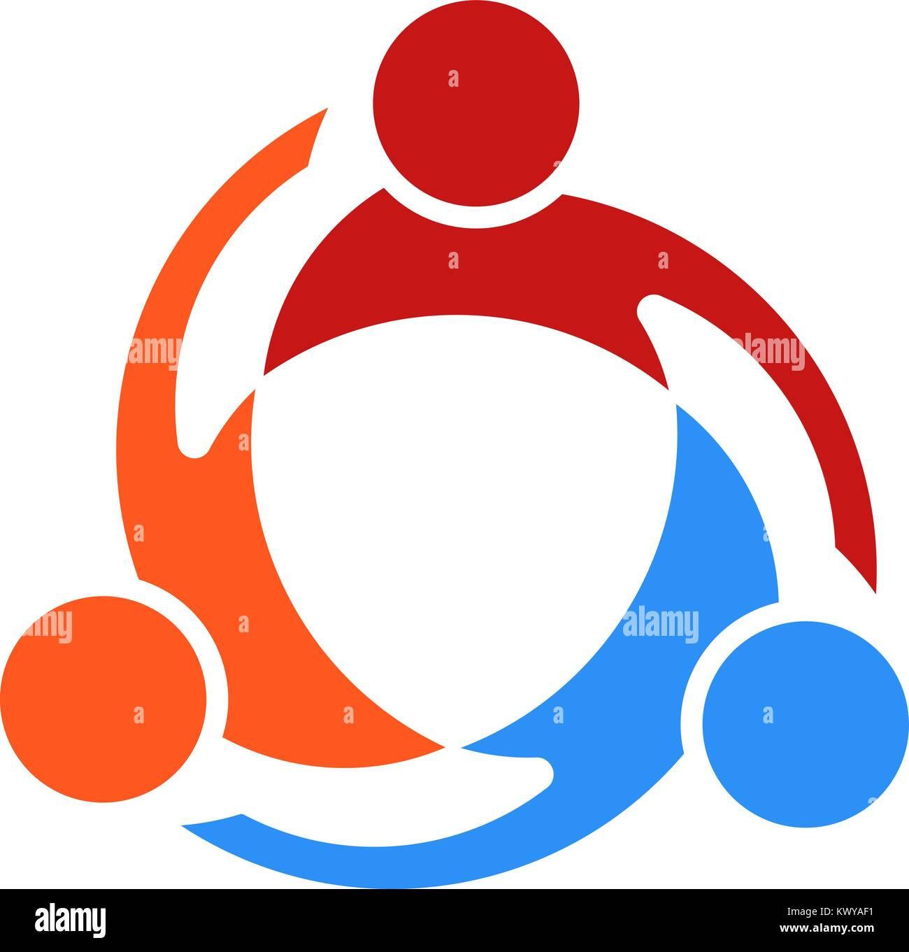 Three People Swirl Vector Logo Illustration - Stock Vector