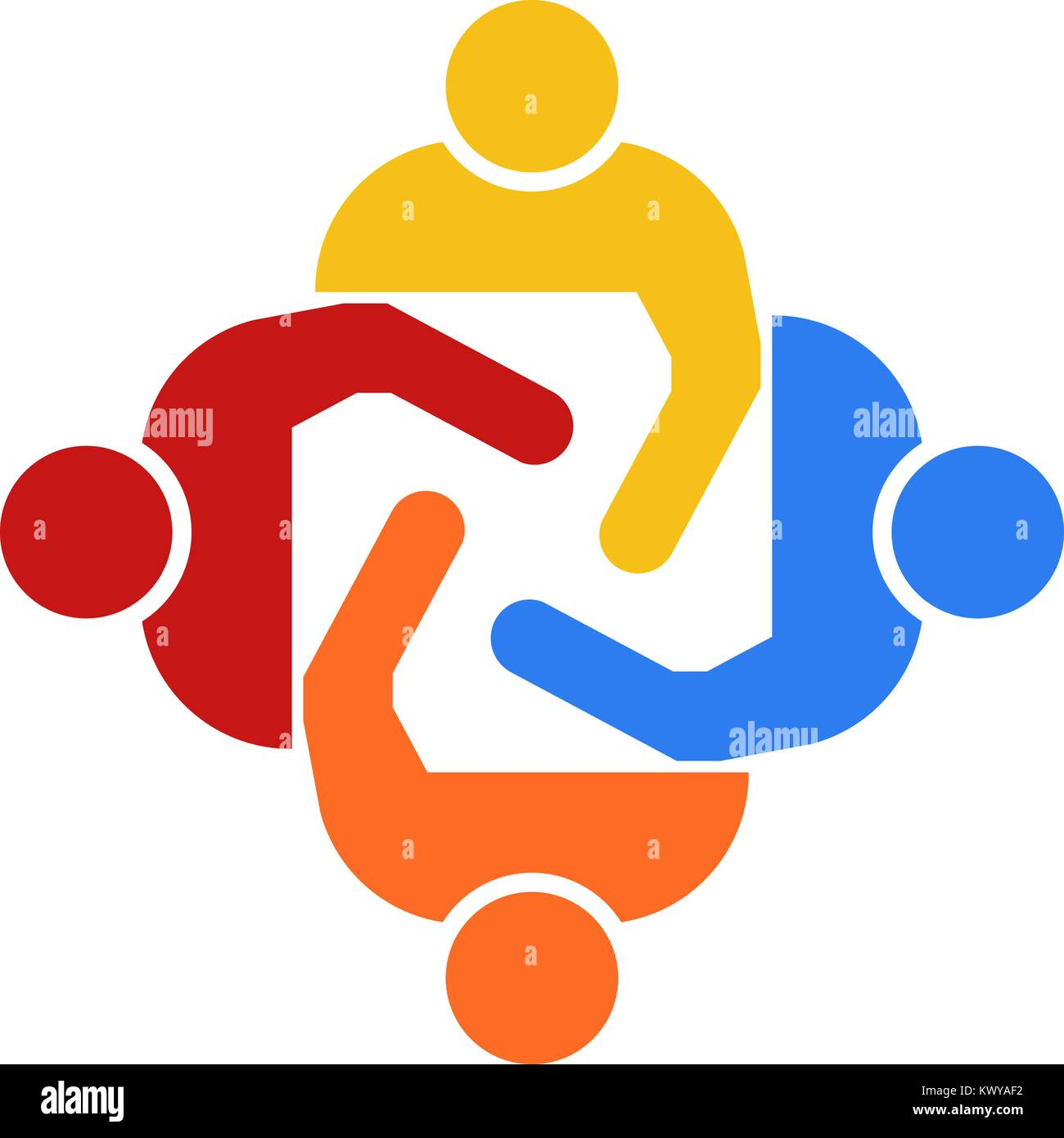 Teamwork Group of Four People Vector Illustration - Stock Vector