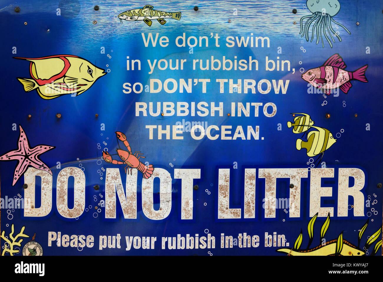 Do not litter the ocean sign, Port Hedland, Western Australia - Stock Image