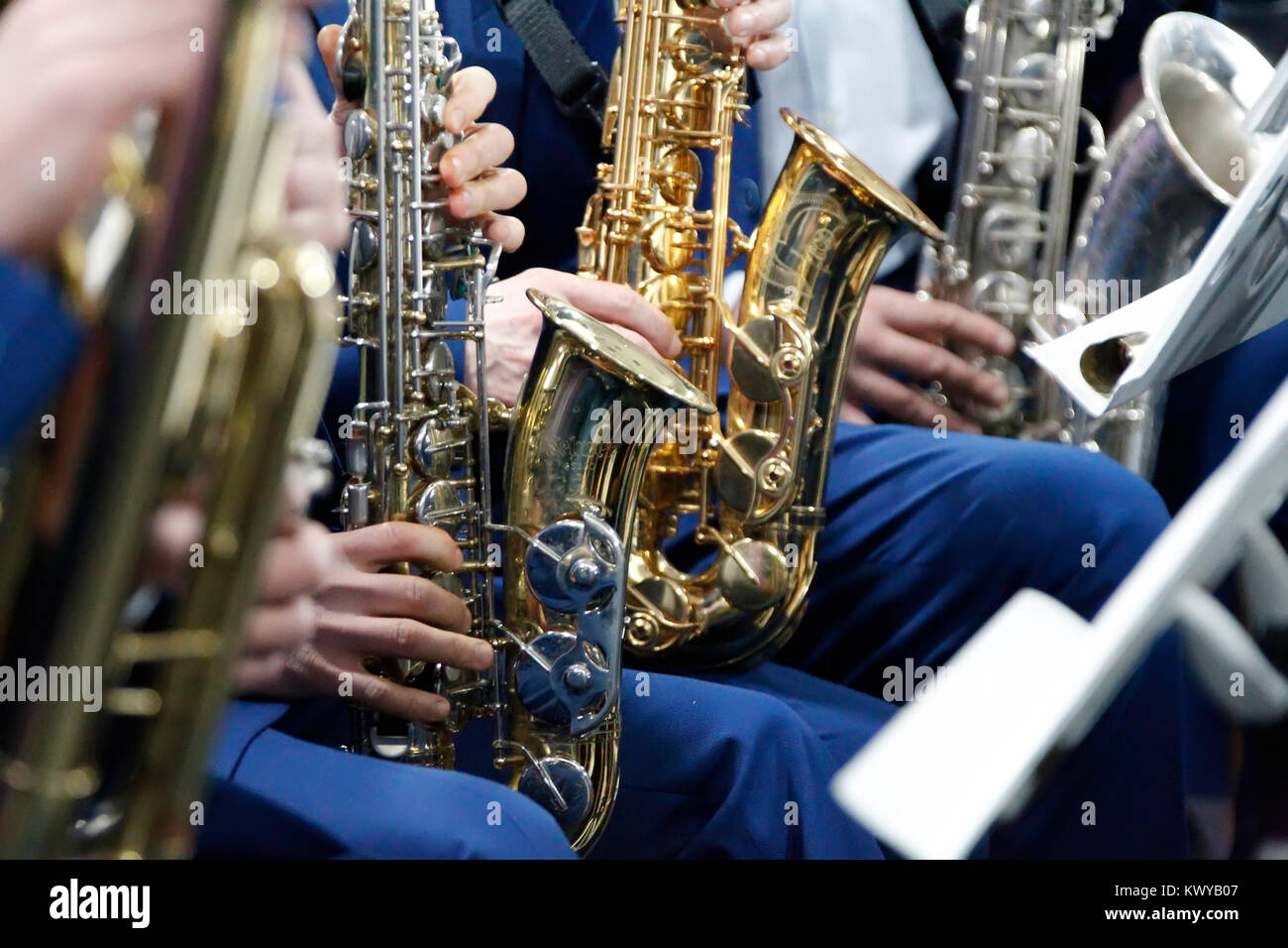 Belarus, Gomel, the performance of the Gomel city orchestra. March 29, 2017.Saxophones.Play in the orchestra. - Stock Image