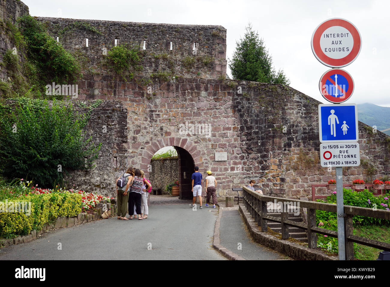 ST JEAN PIED DE PORT, FRANCE - CIRCA JULY 2015 Entrance of OLd town Stock Photo