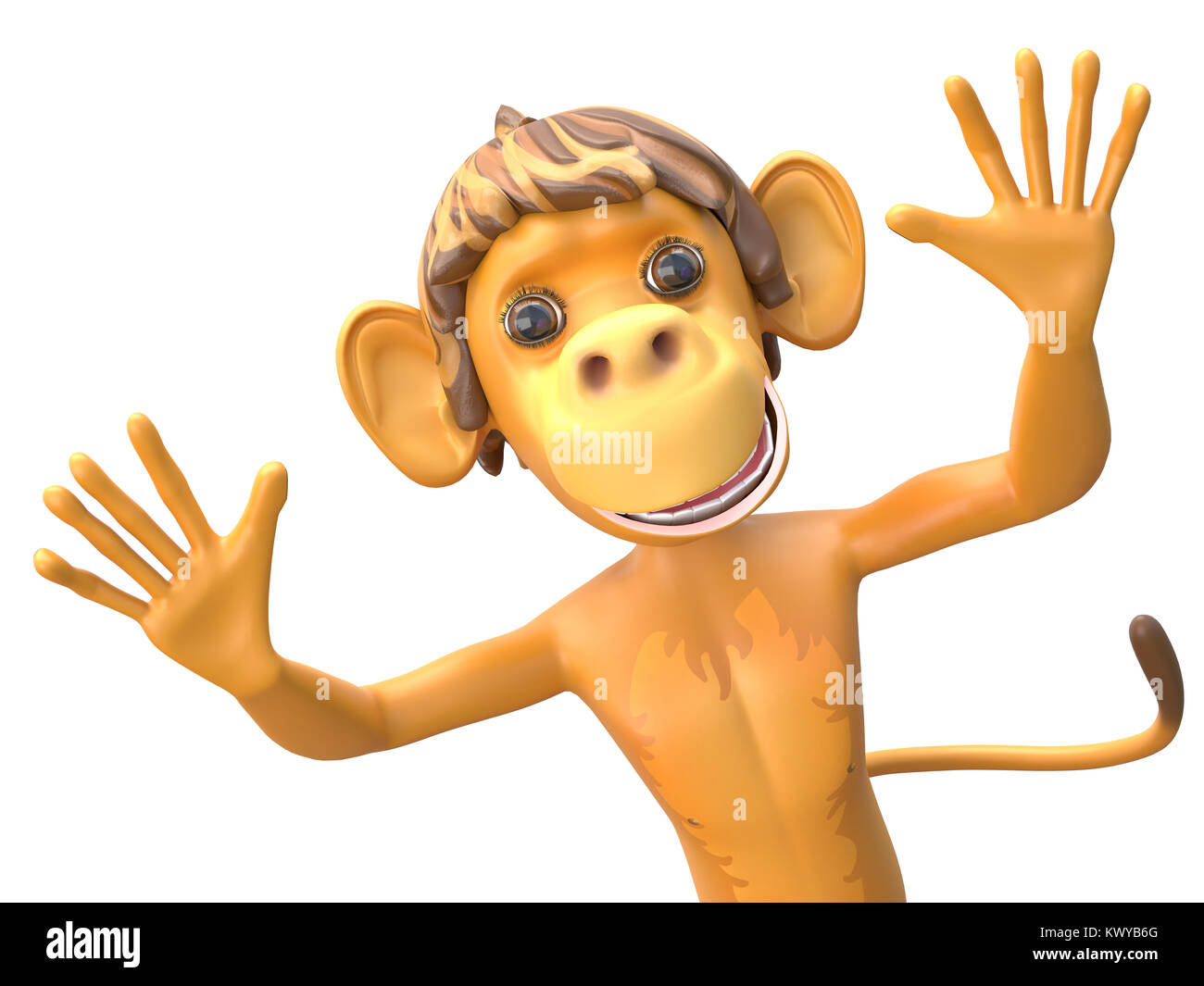 3D Illustration of a Jolly Monkey on White Background - Stock Image