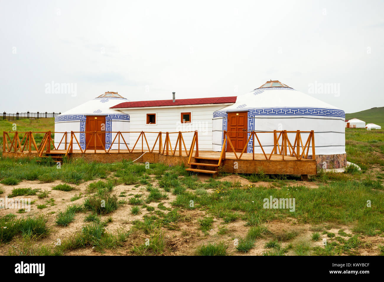 Traditional mongolian yurt in the center of Ulaanbaatar, Mongolia Stock Photo