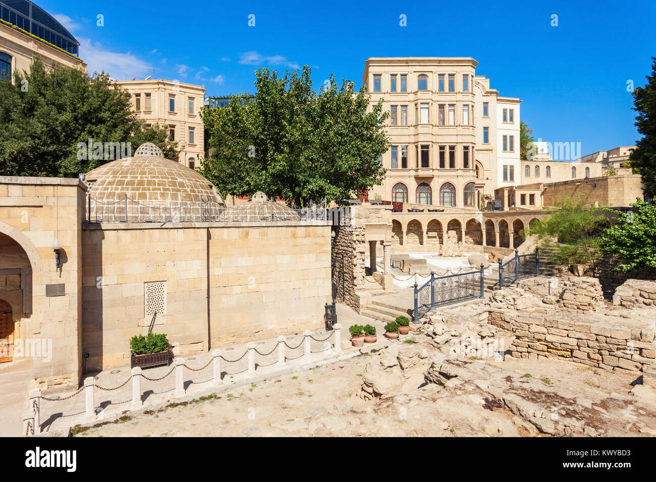 Haji Bani Hammam, Arcades and Religious Burial Place in the Old City in Baku, Azerbaijan. Inner City is the historical - Stock Image