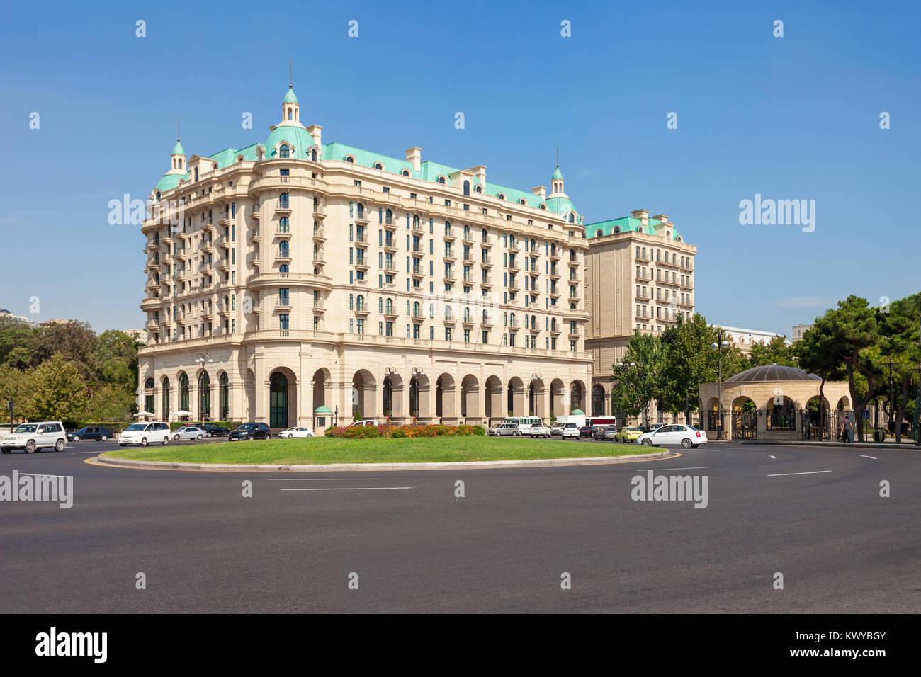 Four Seasons Hotel Baku is a hotel in Baku, the capital of Azerbaijan. Hotel is located on the Neftchilar Avenue - Stock Image