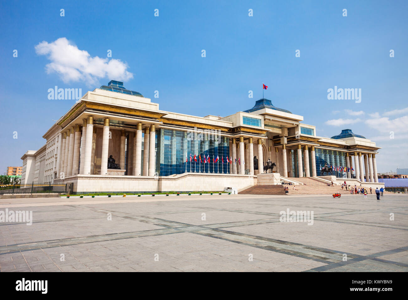 The Government Palace is located on the north side of Chinggis Square or Sukhbaatar Square in Ulaanbaatar, the capital - Stock Image
