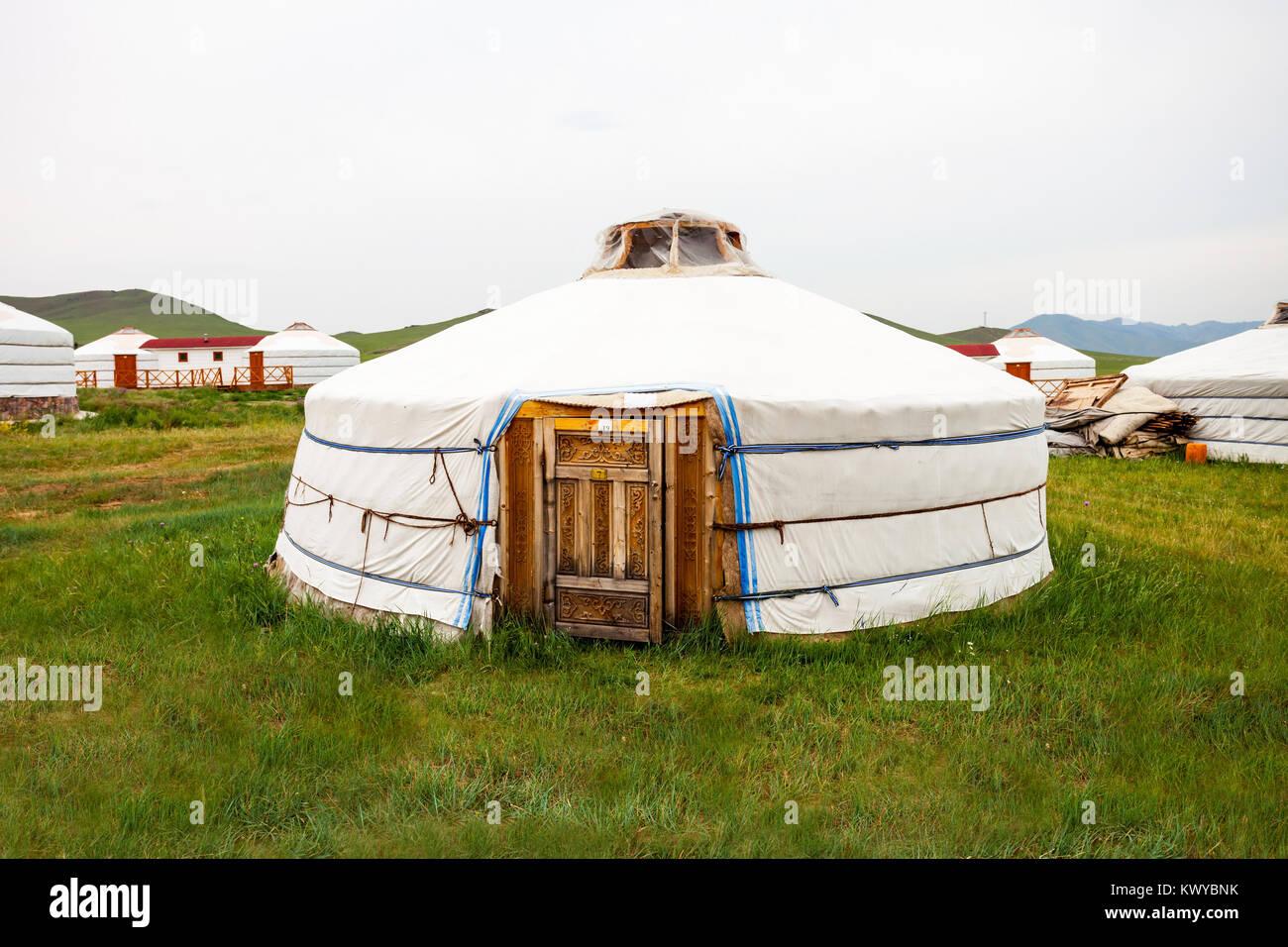 Traditional mongolian yurt in the center of Ulaanbaatar, Mongolia - Stock Image