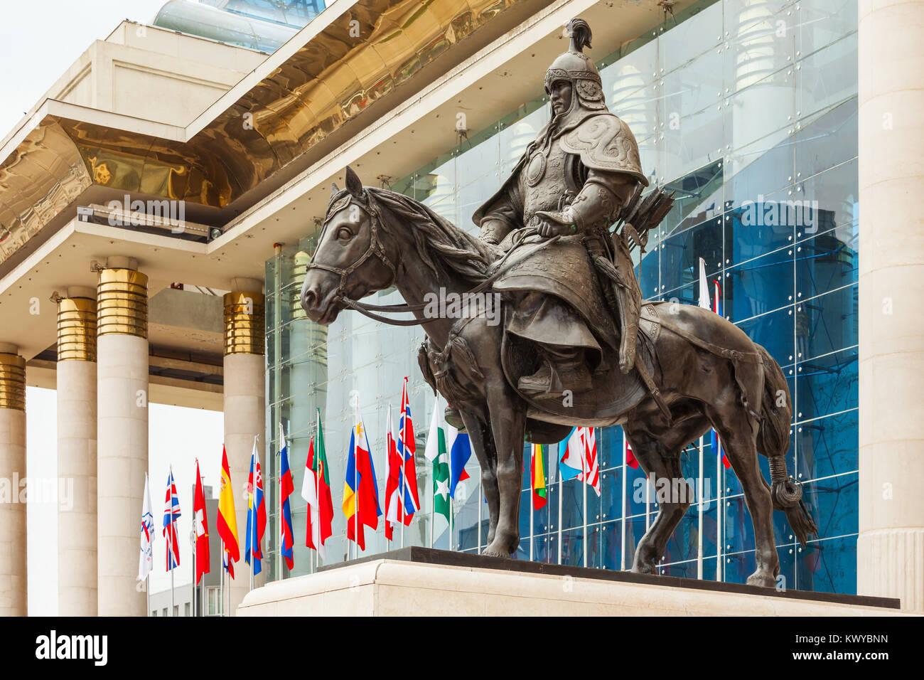 Genghis Khan statue at Chinggis Square (Sukhbaatar Square) in Ulaanbaatar, Mongolia - Stock Image