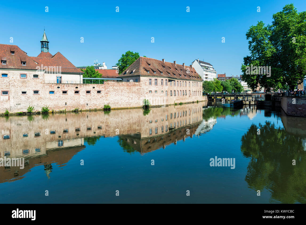 National School of Administration or ENA in the former Commanderie Saint Jean along the ILL Canal, Strasbourg, Alsace, Stock Photo