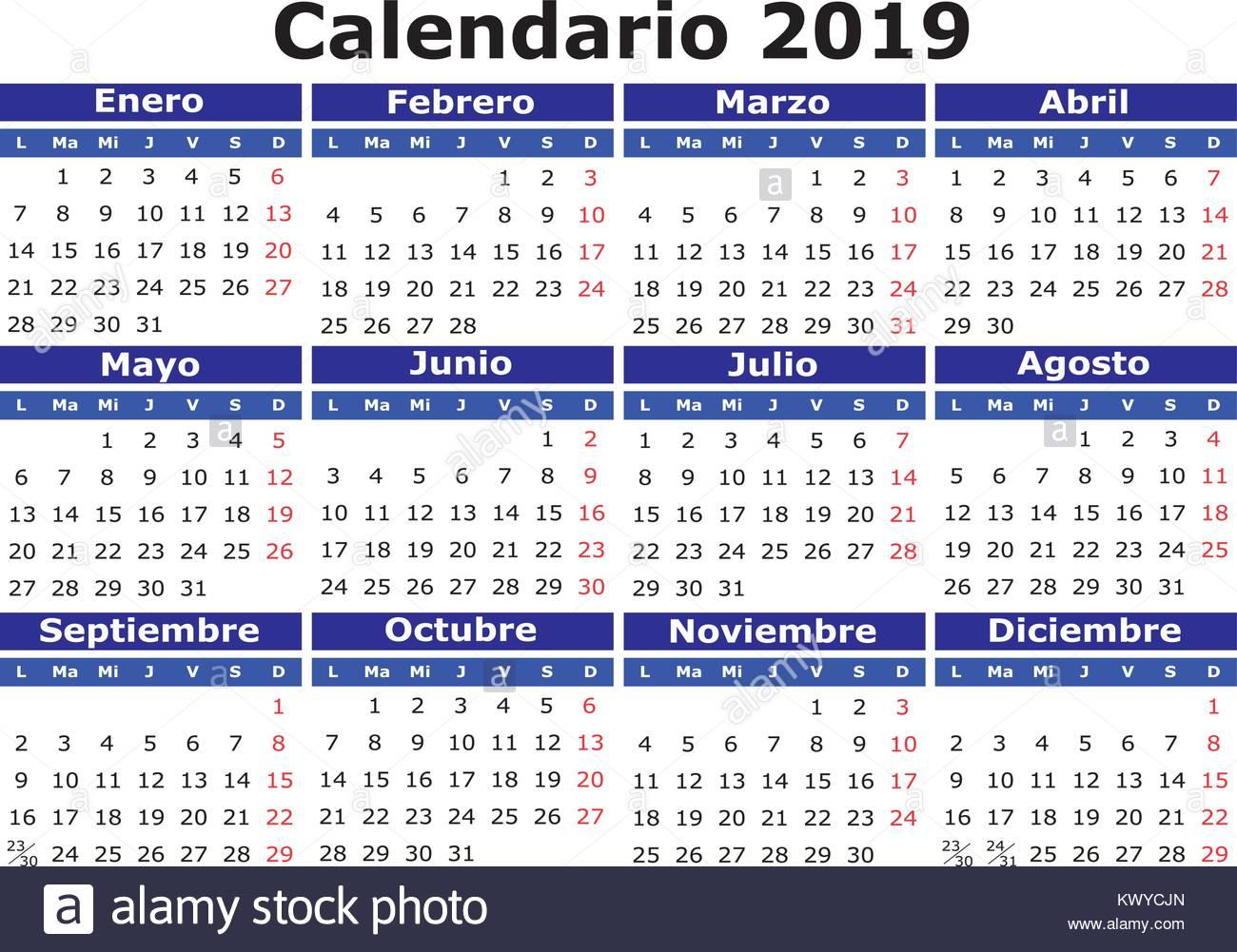 Calendario Vectorizado.2018 Vector Calendar In Spanish Easy For Edit And Apply