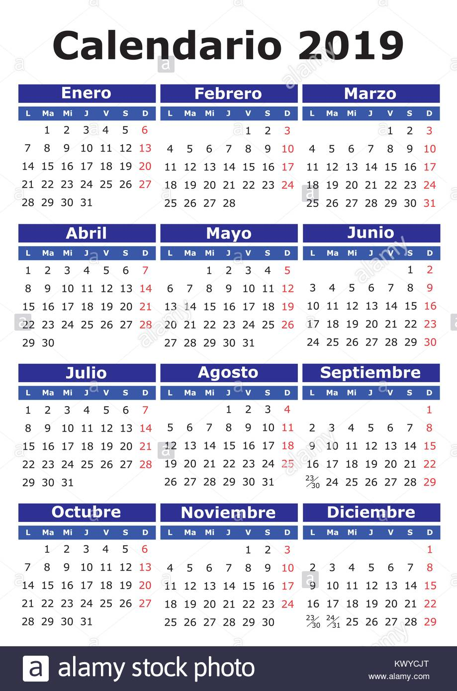 Calendario 20 18.2019 Vector Calendar In Spanish Easy For Edit And Apply