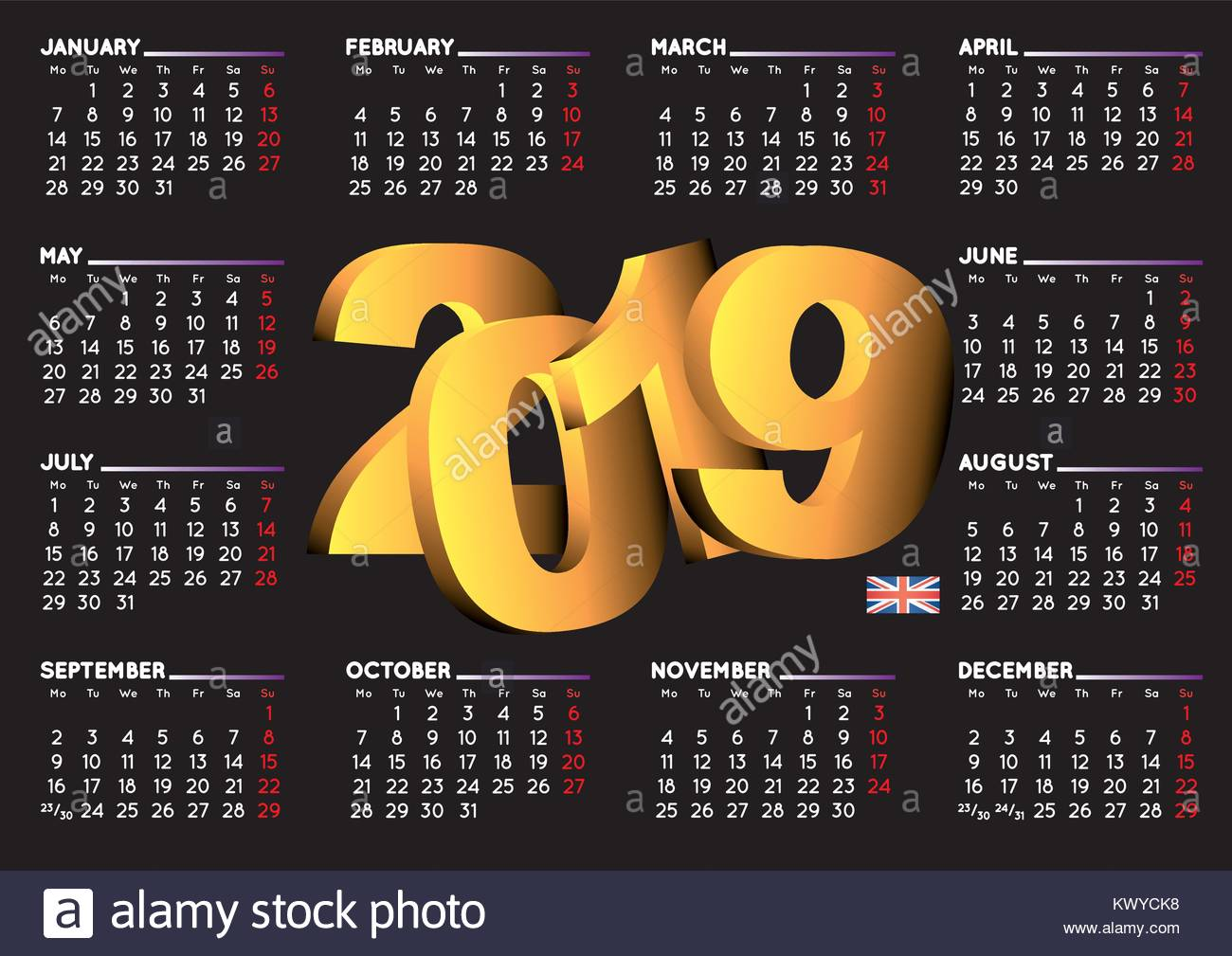 2019 black calendar in english uk year 2019 calendar calendar 2019 week starts on monday uk format