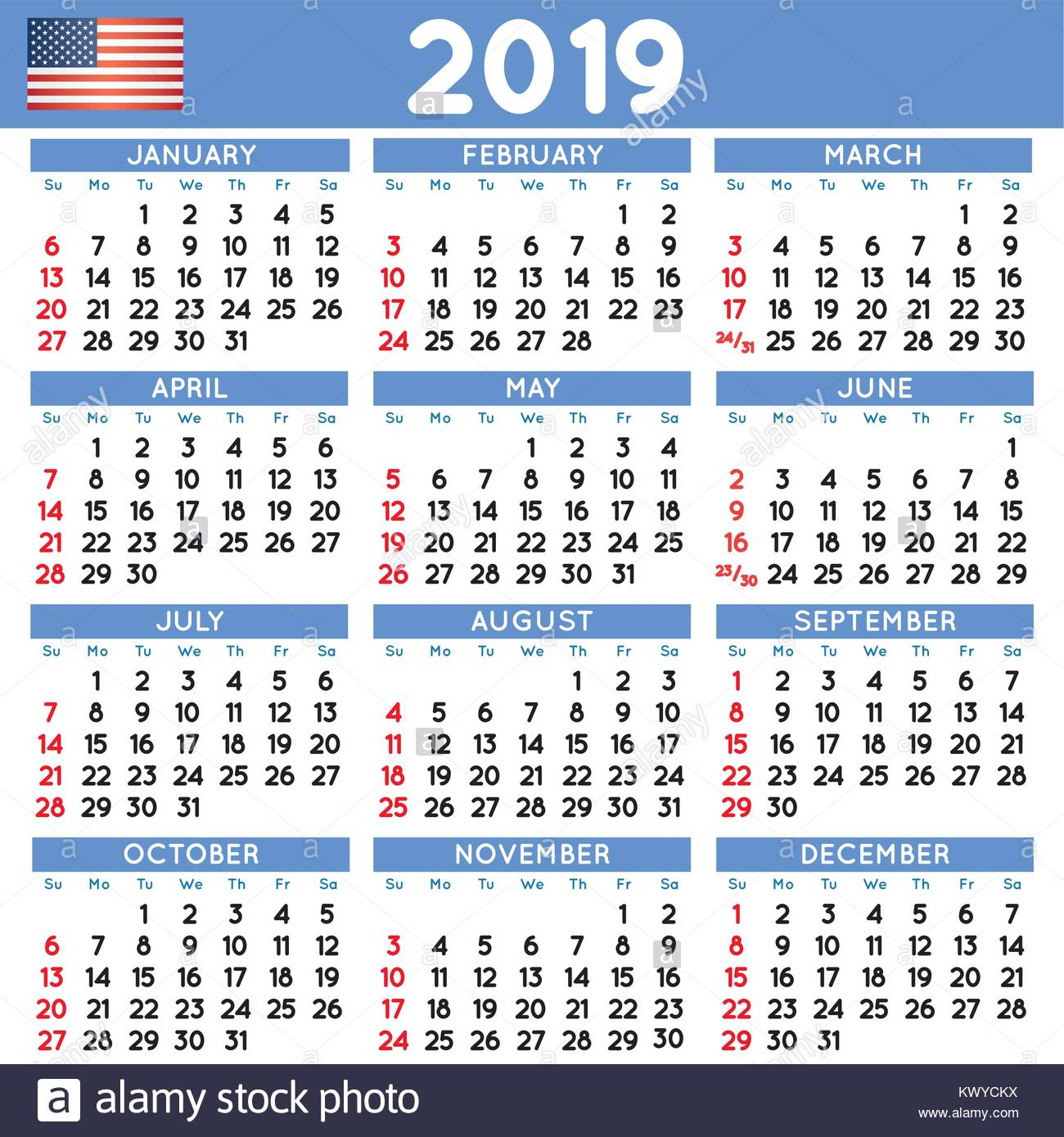 2019 elegant squared calendar english usa year 2019 calendar calendar 2019 file easy to edit and apply week starts on sunday