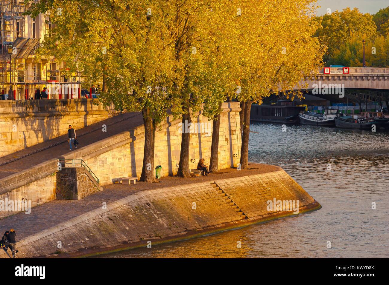 Paris quai Seine, view at sunset across the River Seine of the Quai d'Orleans on the Ile St-Louis, Paris, France. - Stock Image