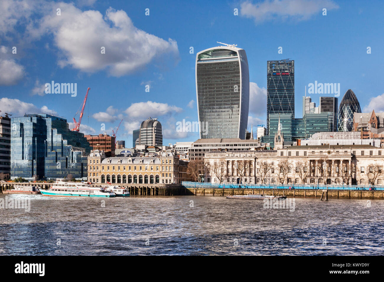 London skyline with the Walkie Talkie, the Cheese Grater, the Gherkin and the River Thames. - Stock Image