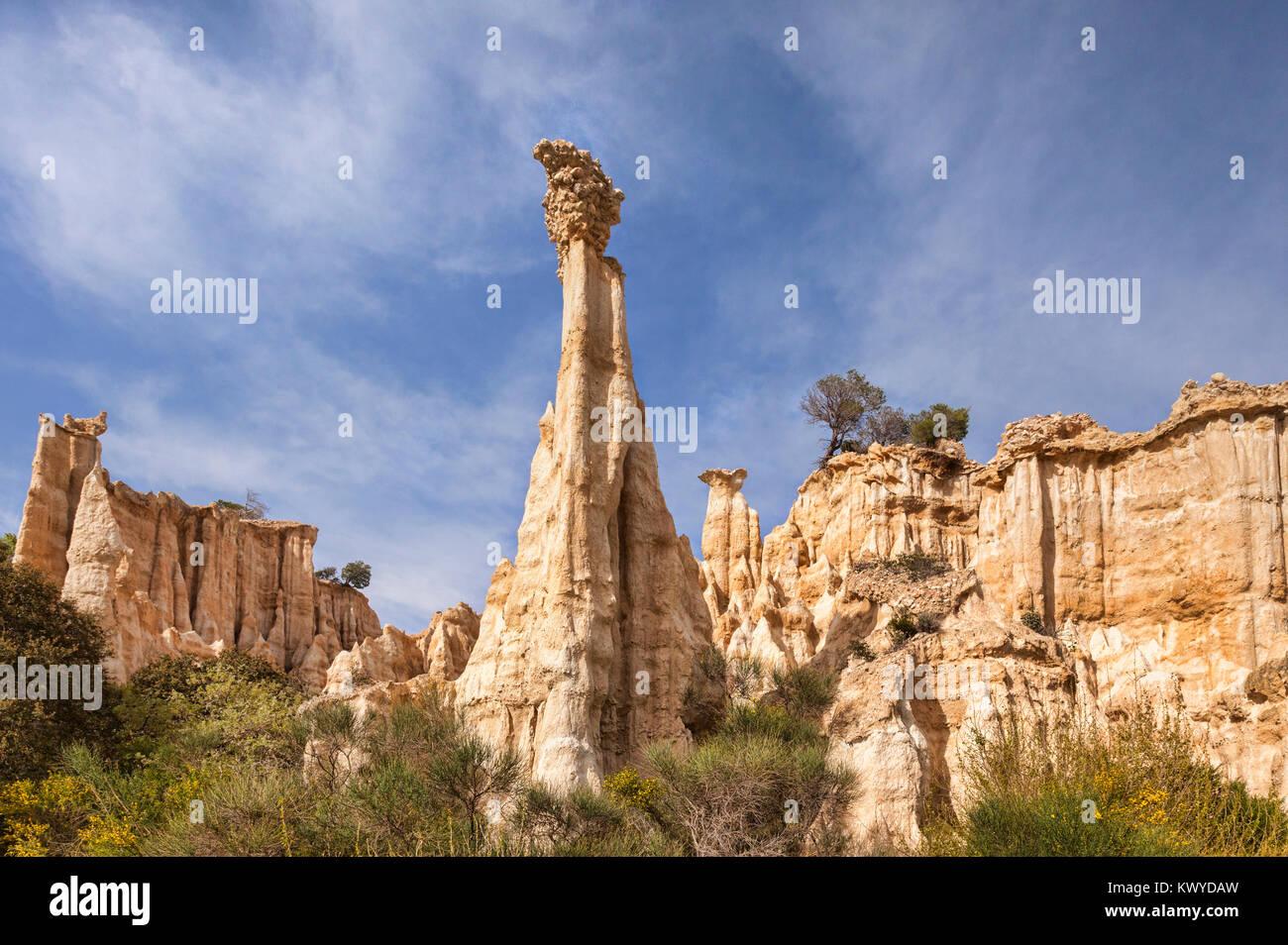 Les Orgues d'Ille sur Tet, Languedoc-Roussillon, Pyrenees-Orientales, France. - Stock Image