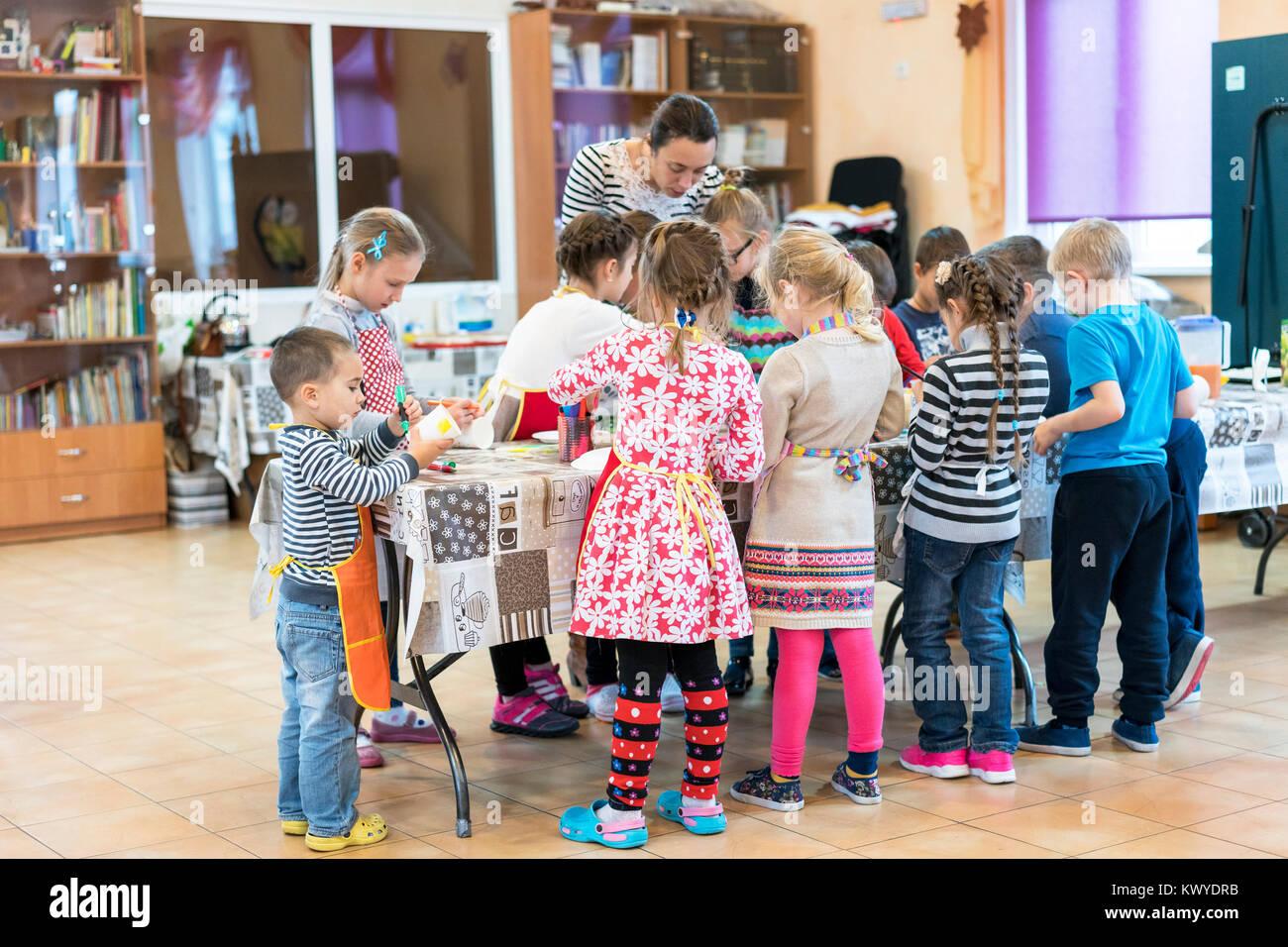 Kiev, Ukraine. November 13 2017. Junior high school students and a teacher entertain - Stock Image