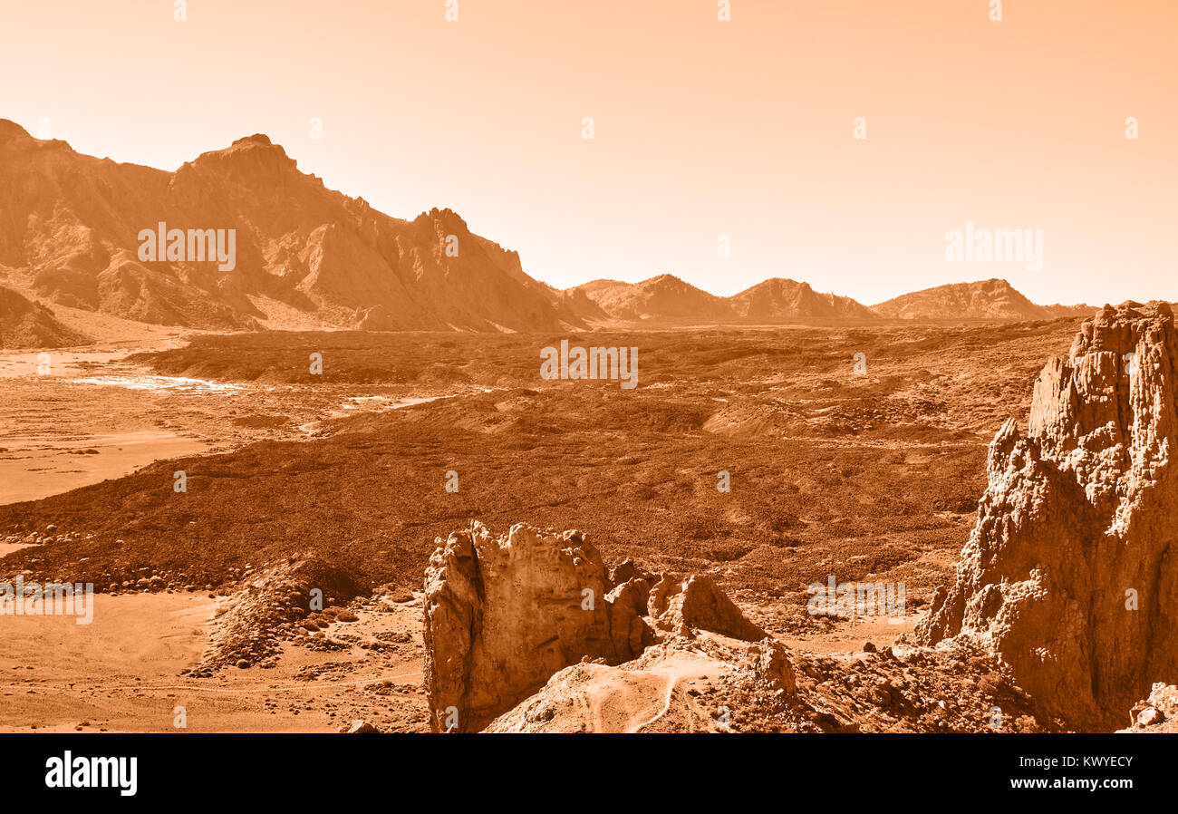 Lifeless martian landscape in highland in Tenerife, The Canaries - Stock Image