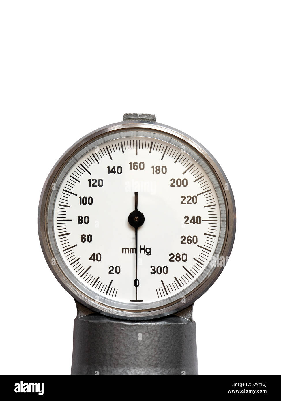 Closeup of blood pressure gauge isolated on white background with clipping path - Stock Image