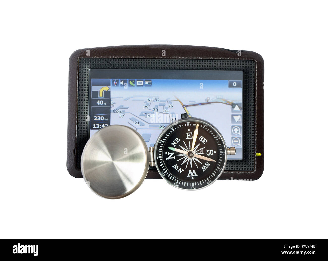 Car navigator and compass isolated on white background with clipping path - Stock Image
