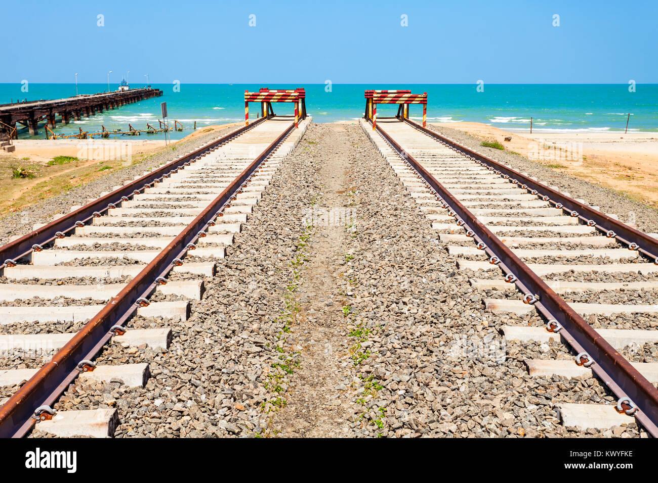 The end of Talaimannar railway track, Sri Lanka. Talaimannar is located on the Mannar Island and about 18 miles Stock Photo