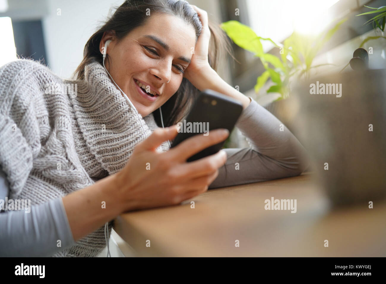 Brunette Woman Long Hair 40 Years Old Stock Photos Brunette Woman