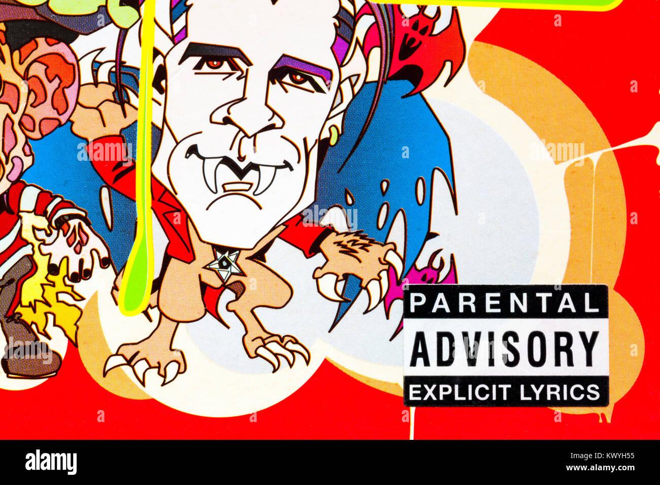 parental advisory explicit lyrics warning on cover of Bonkers 13 CD set - Stock Image