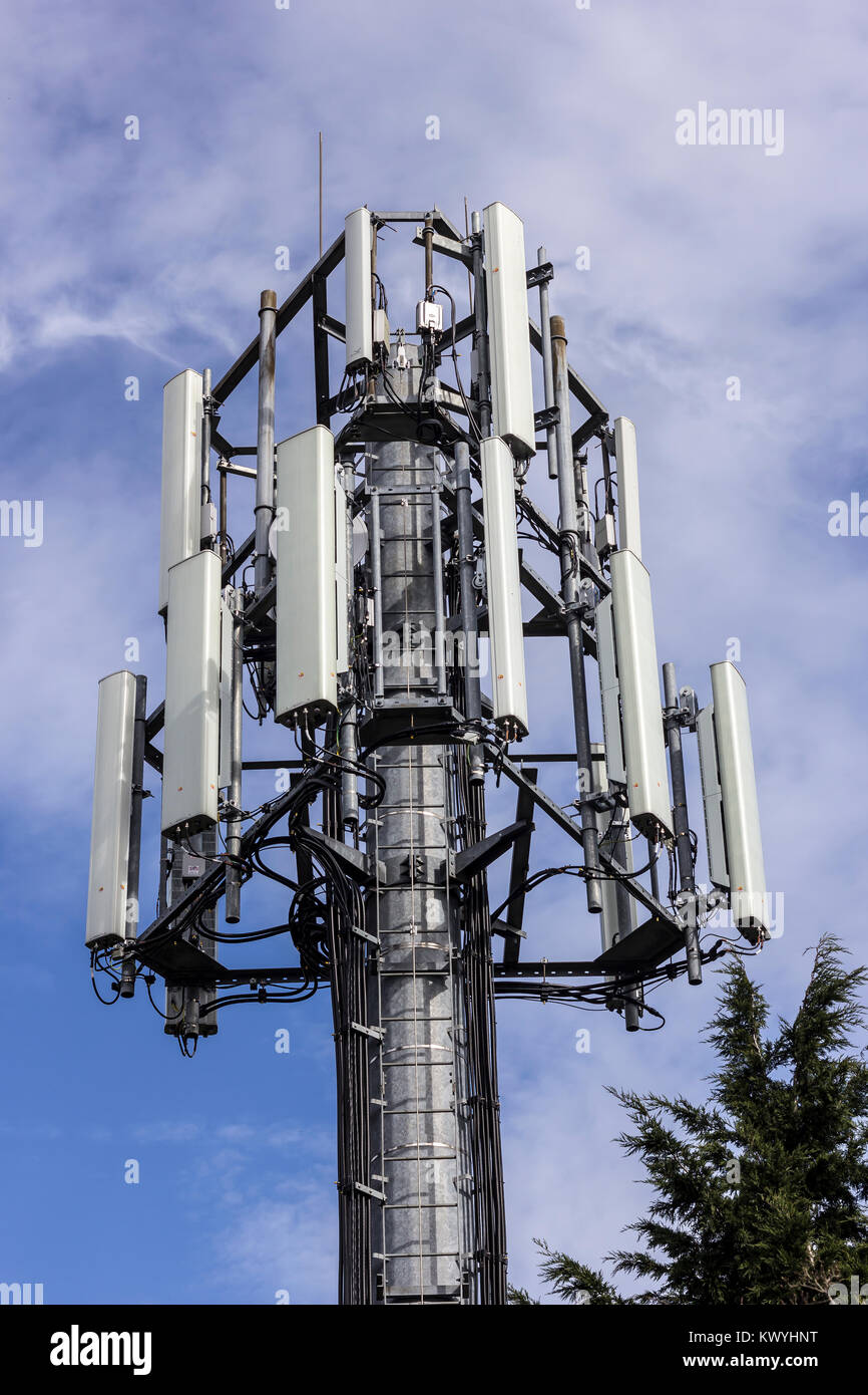 Mobile telephone data and communication tower. - Stock Image