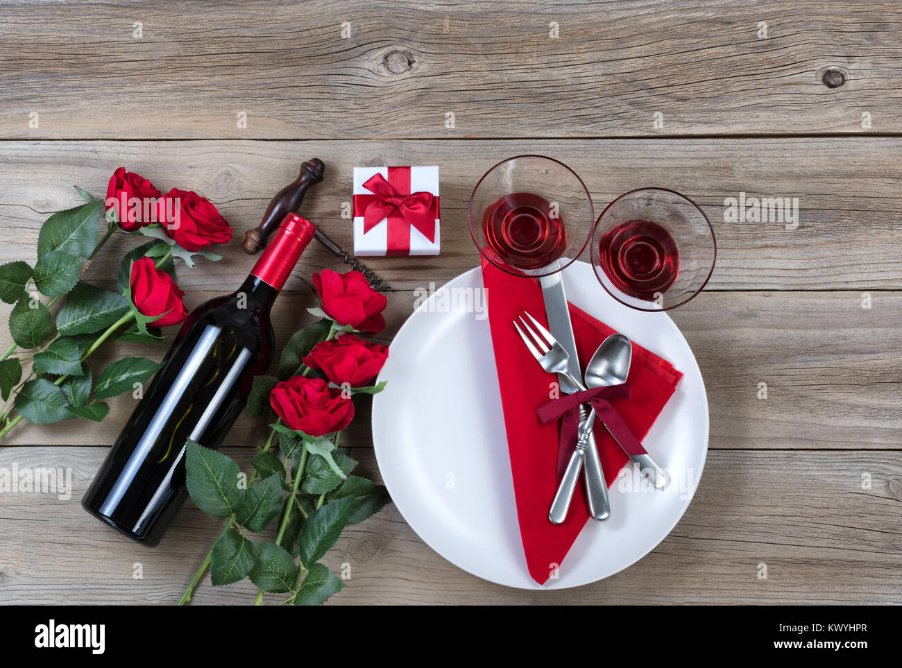 Valentine Dinner table setting on rustic wood in flat lay view Stock ...