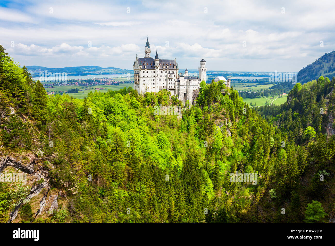 Schloss Neuschwanstein Castle or New Swanstone Castle is a Romanesque Revival palace in Hohenschwangau village near - Stock Image