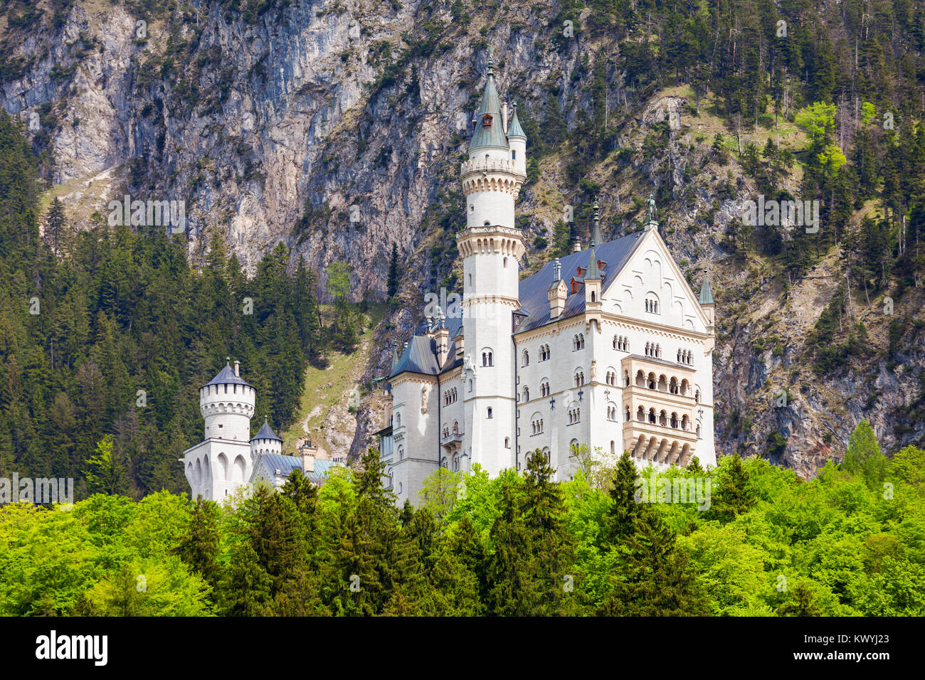 Schloss Neuschwanstein Castle or New Swanstone Castle is a Romanesque Revival palace in Hohenschwangau village near - Stock Image