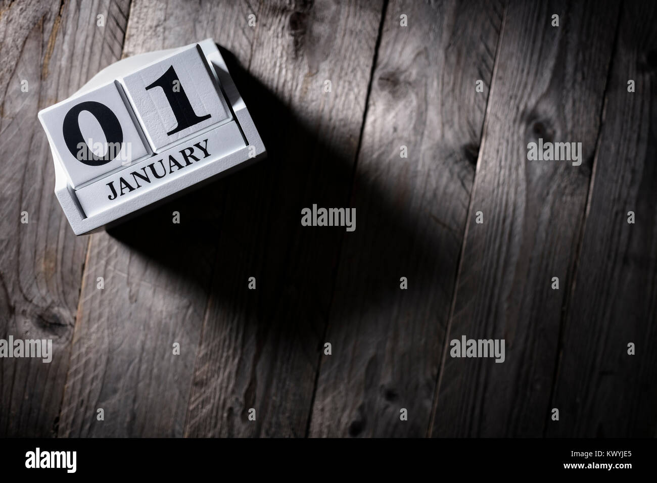 January 1st calendar on wood background new year concept - Stock Image