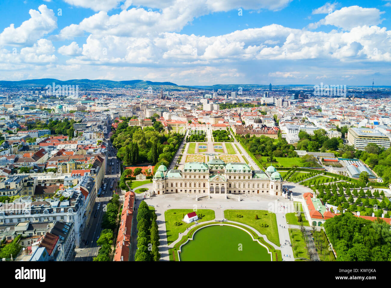 Belvedere Palace aerial panoramic view. Belvedere Palace is a historic building complex in Vienna, Austria. Belvedere - Stock Image