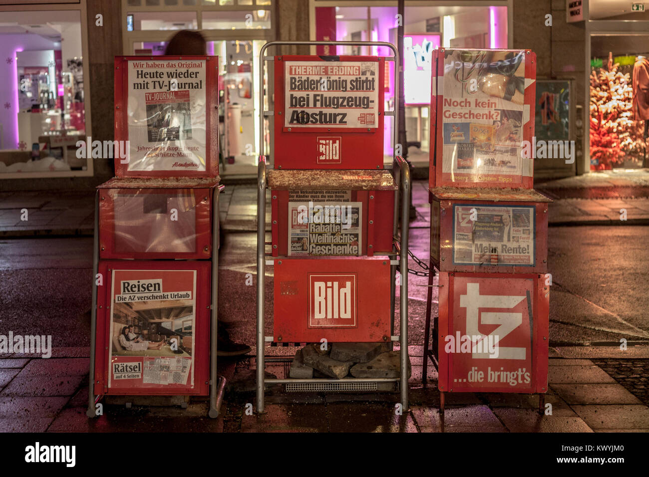 MUNICH, GERMANY - DECEMBER 17, 2017: German newspaper Bild Zeitung for sale in the streets of Munich on stands, - Stock Image