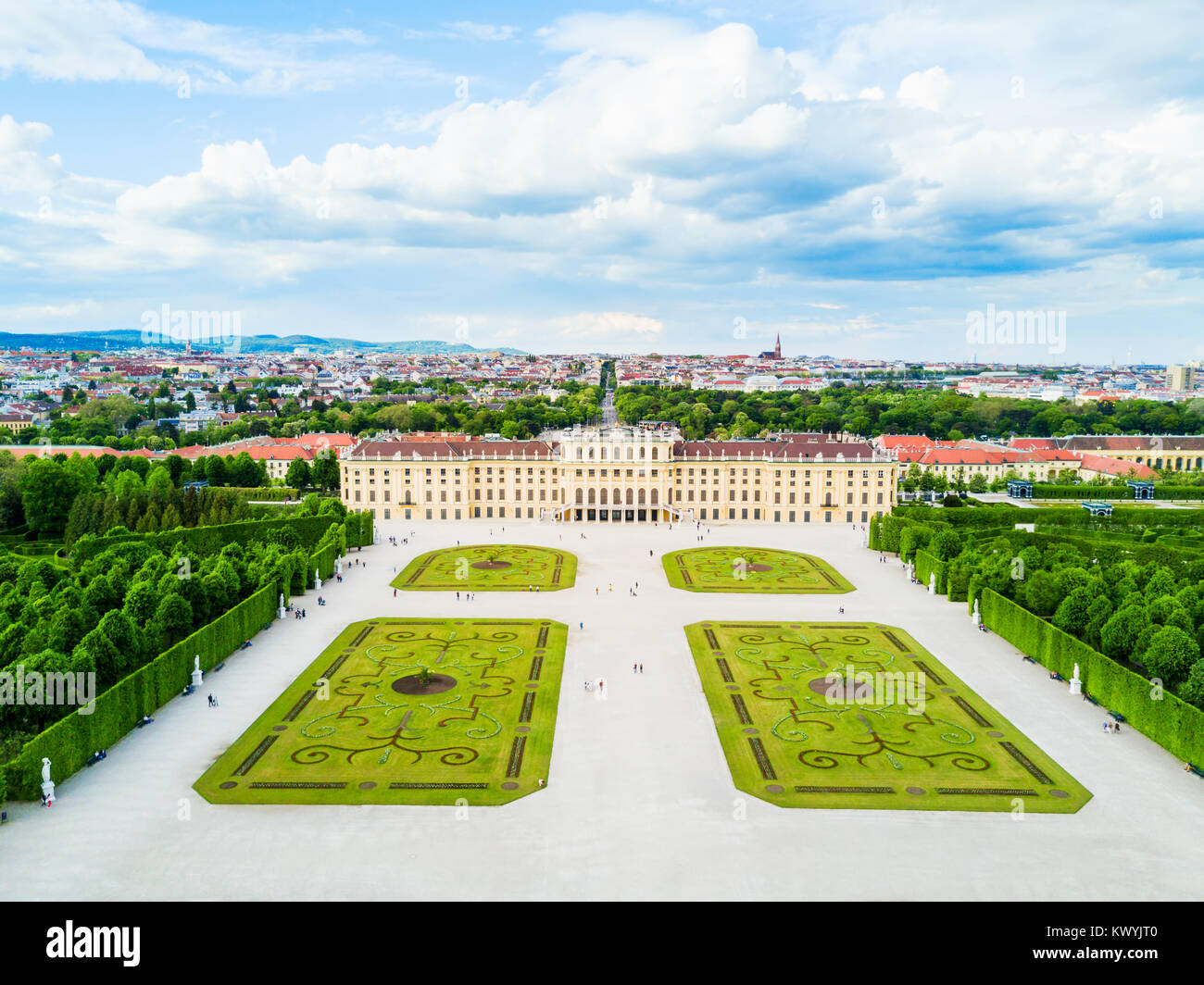 Schonbrunn Palace aerial panoramic view. Schloss Schoenbrunn is an imperial summer residence in Vienna, Austria. - Stock Image