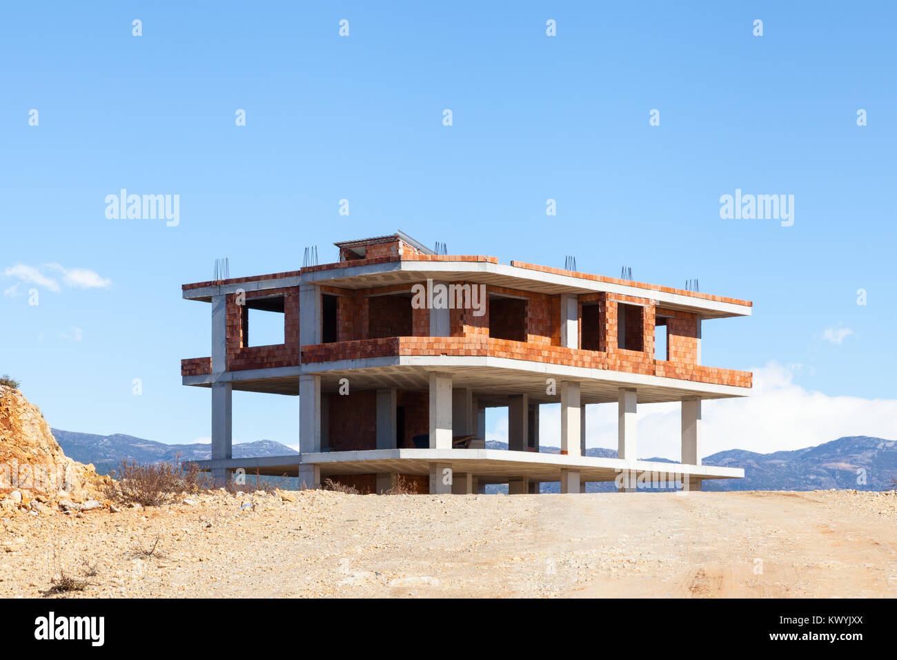 A new house under construction is pictured in Turkler in southern Turkey. - Stock Image