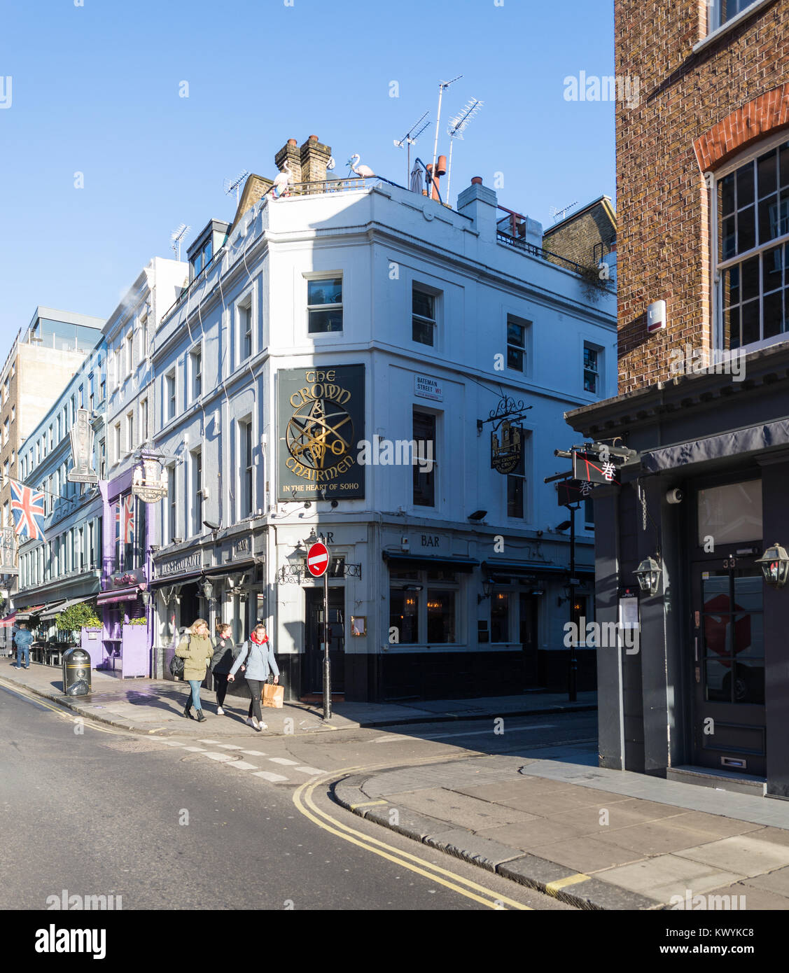 The Crown and Two Chairmen pub on the corner of Dean Street and Bateman Street in Soho, London, England, UK. - Stock Image