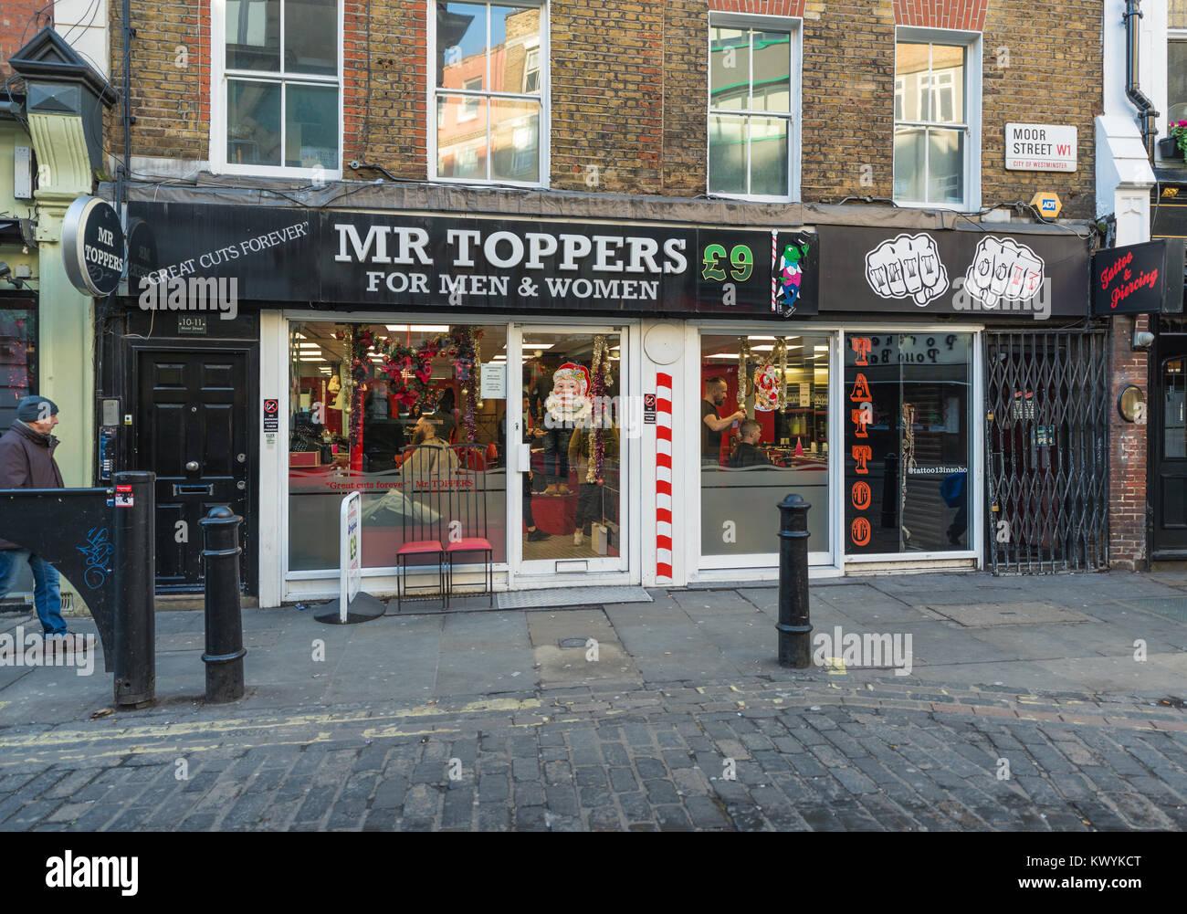 Mr Toppers hairdresser salon, Moor Street, Soho, London, England, UK - Stock Image