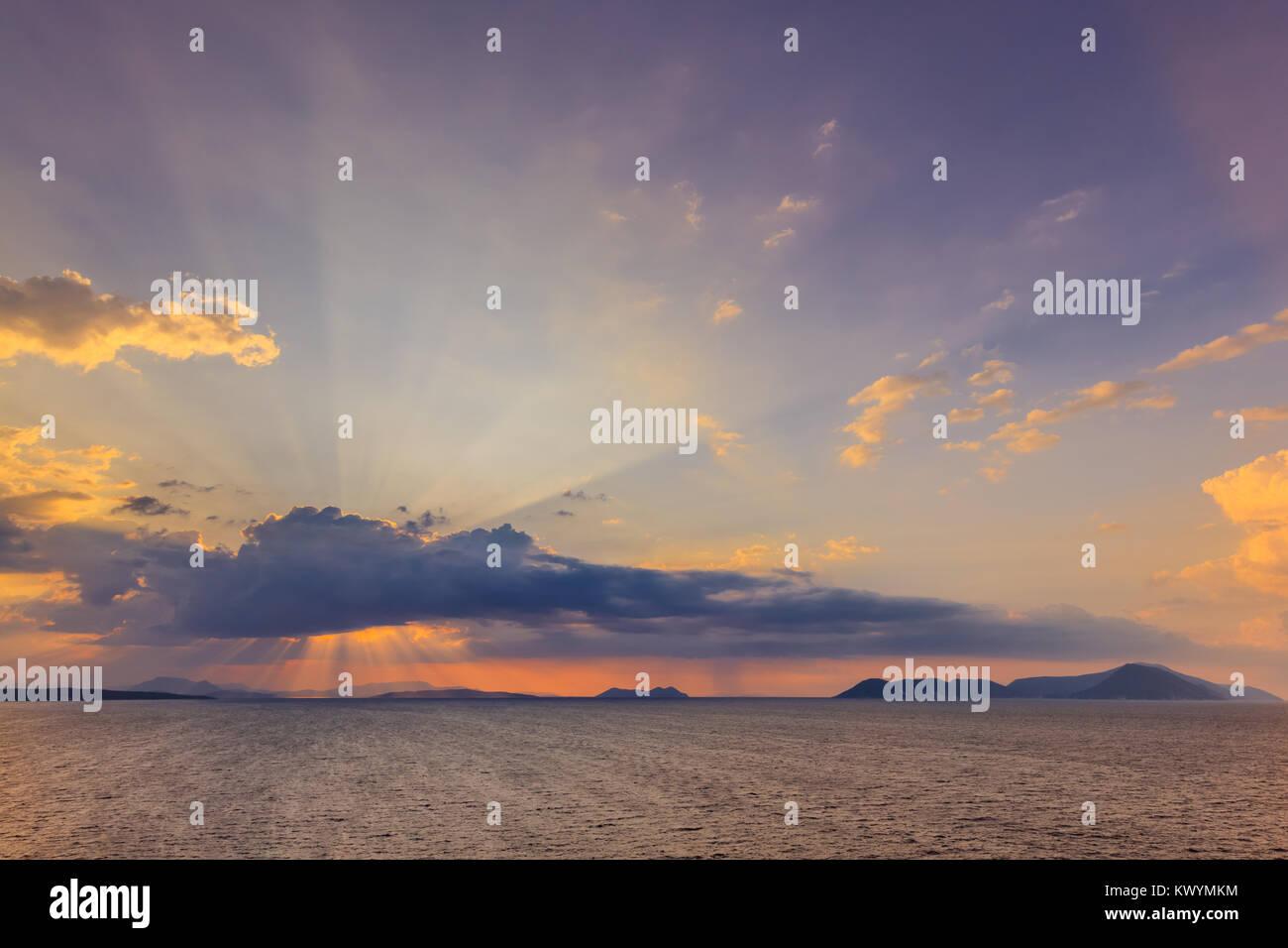 sunrise in Ionian Islands. Lefkada island Greece - Stock Image