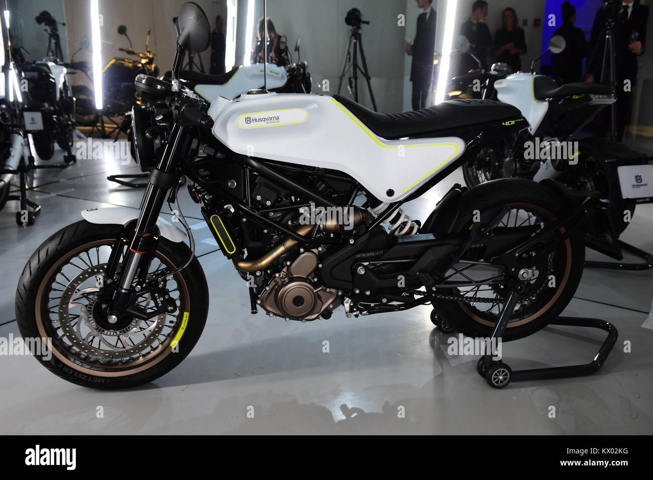 Husqvarna launches new motorcycle range in London  Featuring: Atmosphere Where: London, United Kingdom When: 05 - Stock Image
