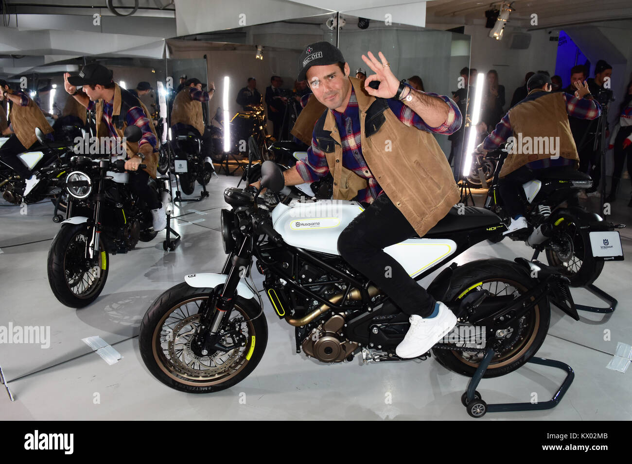 Husqvarna launches new motorcycle range in London  Featuring: Spencer Matthews Where: London, United Kingdom When: - Stock Image